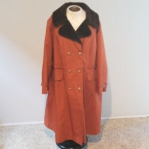 Vintage fur trench winter rain coat 70's